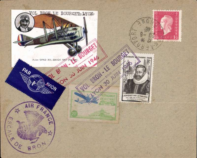 (France) Early post WWII F/F Bron to Le Bourget, attractive cover franked 1F50 special red and black framed Expo cachets, one tying two different Expo vignettes, and the other tying a large 'Spad biplane with Fronvall head and shoulders inset' vignette, and large violet Air France/Escale de Bron hs. A most attractve item, see image.