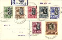 (Gambia) Gambia to Great Britain, carried on the German air service, Bathurst to London, bs 17/11, registered (label) cover, franked KGV 1/2d,1d,1 1/2d,2d,3d,6d and 1/-, canc Gambia oval Registered ds, vioet 'Per Air Mail' hs.  Carried on the Hindenburg flight G52, mail dropped to DLH at Las Palmas, arriving Frankfurt 16/11. Addressee details have bee scratched out neatly, otherwise very fine. See image.