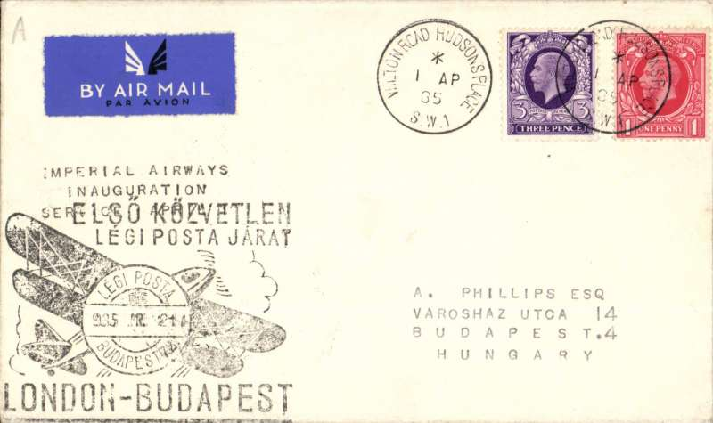 (GB External) F/F London to Budapest, correctly rated 4d, bs 2/4, (held up by bad weather), special black cachet applied on arrival, Imperial Airways.
