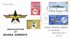 (Ghana) Inauguration of Ghana Airways, souvenir cover franked FDI Inaugration set of three. Image.