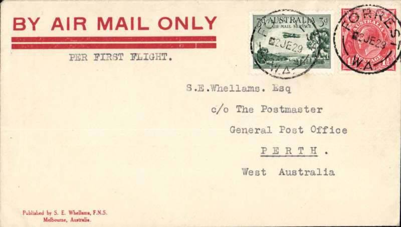 (Australia) F/F Adelaide to Perth, no arrival ds, franked 4 1/2d,  canc Forrest cds, Whellams 'By Air Mail Only' sounenir cover, Western Australian AW. No b/s's were applied to ordinary covers, see Eus 136.