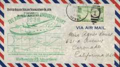 (United States) Inaugural flight of the Boeing Clipper 314 Hawaii to San Francisco, a 'Honolulu Advertiser, cover franked 20c, large green cachet showing clipper outline and map of route, Pan Am. Image.