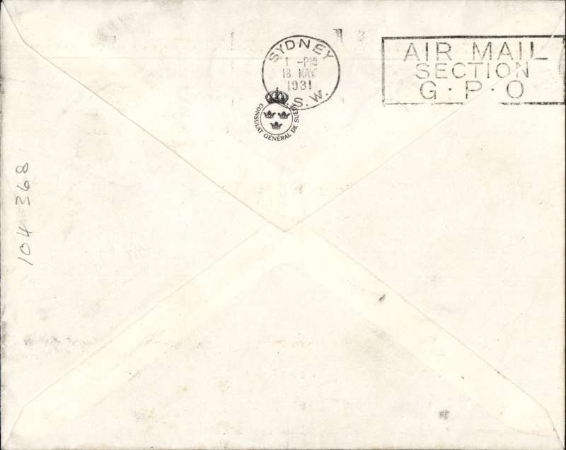 (Netherlands East Indies) Batavia to  Sydney, bs 18/5, carried on Java-Australia Test Flight, Swedish Consulate cover with logo on flap, franked NEI  15c stamp canc Batavia cds, and the special  1G blue/bown Java-Australia stamp canc special black 'Abel Tasman/Batavia Centrum/9 Mei 1931' cachet, dark blue/white AV5 airmaikl etiquette. Image.