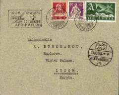 "(Switzerland) Mittelholzer First Africa Flight, Zurich to Alexandria, bs 13/12, plain cover franked 20c, 40c and 20c air, canc Zurich cds, black boxed ""Afrikaflug"" cachet. Faint ironed vertical crease, see image."