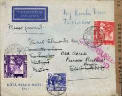 "(Netherlands East Indies) World War II censored Kuta Beach Hotel, Bali air cover to England, Watford 11 Oct 1940 arrival ds, franked G1.85 canc. Denpasar cds, ms 'By KNILM', sealed brown ""Censur Batavia"" NEI censor tape, tie by red two line 'Gecensureerd/4 D*D censor mark fron and verso, KNILM to Manila, Pan Am to San Francisco, US internal air service to New York,  FAM 18 to Lisbon, KLM/BOAC to England. This ""two ocean"" mail wassuspended after Pearl Harbour on Dec 1941, see Boyle p 820-828."