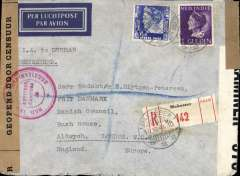 "(Netherlands East Indies) World War II dual censored Macassar to London,  registered (label) cover franked G1.15  typed 'I.W. to Durban', sealed brown  NEI censor tape, tied by large red circular 'Deviezen/Censur' censor marks front and verso,  and Bermuda B&W OBE 978, flown KNILM to Manila/Sydney/Singapore, then Pan Am to San Francisco, US internal air service to New York,  FAM 18 to Lisbon, and KLM/BOAC to England. This ""two ocean"" mail was suspended after Pearl Harbour on Dec 1941, see Boyle p 820-828."