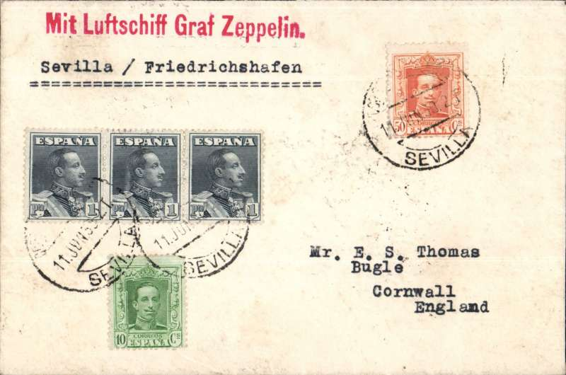 (Scarce and Unusual Routings) Graf Zeppelin, Seville to Friedrichshafen, bs 11/6, and on to England bs 14/6 via Paris 13/6.