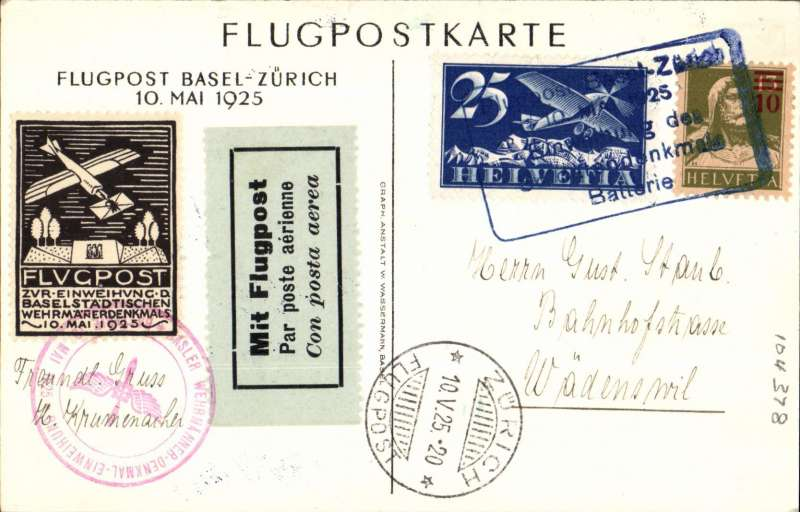 (Switzerland) Military commemorative flight, Zurich to Basel, all cachets, tied vignette, tied black on pale green etiquette, special printed card franked 10c and 25c air canc special blue framed postmark, and illusration of monument verso. Image.