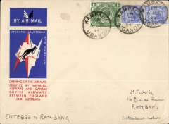 (Uganda) Kampala to Sydney, bs 21/12, via Cairo 10/12, 2,  official 'Kangaroo' cover franked 1/-  & 60c, first acceptance of African 'all the way' airmail for Australia for carriage on the Imperial Airways African service to Cairo 10/12 transit cds, to connect with the first extension of the IA/ITCA/Qantas service from Singapore to Brisbane. Addressed to, and correctly franked for, Rambang, NEI, but overflown to Sydney. Scarce.
