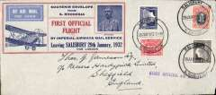 """(Southern Rhodesia) Imperial Airways F/F Salisbury to London, no arrival ds, red/blue/grey official souvenir envelope (20x9cm) from SR with inset picture of Rhodes, carried on 1st regular Cape Town to London service, straight line """"First Official Air Mail"""" cachet. Image."""