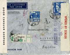 (Netherlands East Indies) High frank dual censored registered (label) WWII Javasche Bank airmail etiquette cover NEI to Australia, bs Sydney, bs 24/7, franked 65c canc Soerbaja cds, sealed NEI B&W 'Door Censuur Geopend' censor tape and Australian red/cream 'Opened By Censor' tape tied by blue 'Passed By Censor/S,30' censor mark, also well preserved 'KAS' bank seal verso.