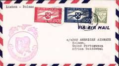 (Portugal) F/F FAM  18 Southern Atlantic Route, alternate return via Poruguese Africa and The West Indies,  Lisbon to Bolama , purple cachet, b/s, air cover, Pan Am