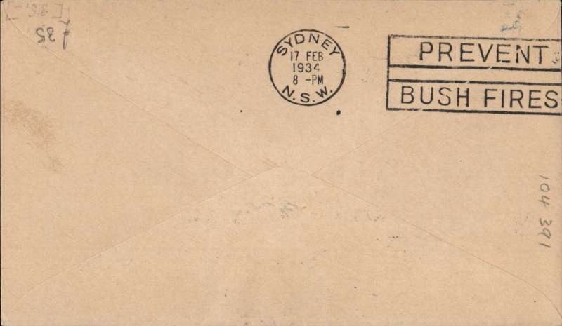 """(New Zealand) First official mail, New Zealand to Australia, bs Sydney 17/2 , franked 7d """"Trans Tasman"""" opt, special """"First trans Tasman"""" cachet, Kiwi cover.."""