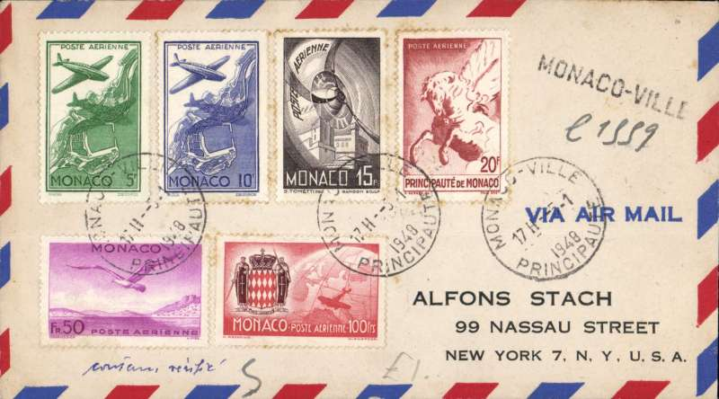 (Monaco) Monaco to New York, bs 8/1, airmail cover franked 1942 air set of five.