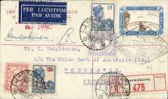 "(Netherlands East Indies) Experimental flight NEI to Australia, Poerwakata to Melbourne, bs 19/5, via Batavia 7/5, registered 9label) cover franked 35c Netherland stamps, diamond ""Abel Tasman"" cachet tying special first flight stamp, typed 'Java-Australia', KLM. Image."