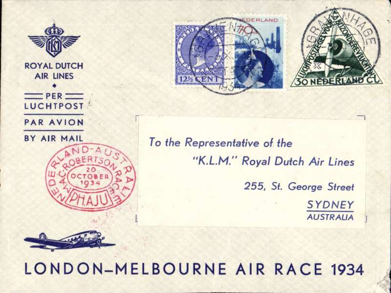 """(Netherlands ) Mac Robertson Air Race, Holland to Australia, bs Sydney 26/10, special red DR oval cachet, violet three line """"By KLM/London-Melbourne/Air Race 1934"""" cachet, official mail carried on the KLM """"Uiver"""" flown by Parmentier. Small lower rh corner nibble, otherwise fine. See scan."""