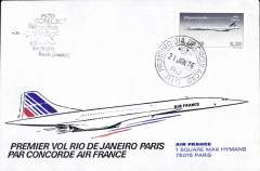 (Concorde) Air France, F/F Rio to Paris, bs, suvenir cover, cachet
