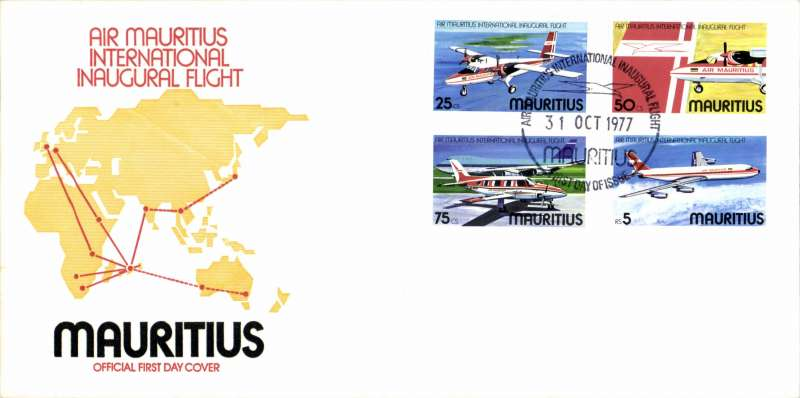 (Mauritius) Air Mauritius International inaugural flight, souvenir cover franked FDI commemorative air set of four. Image.
