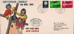 (Netherlands ) F/F Amsterdam to Bombay, bs 3/4, attractive souveir over franked72c, official flight cachet. Image.