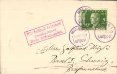 (Sweden) Early airmail Malmo to Berlin, bs 16/3, fine Malmo/16 Mrs 1929/Luftpost cds and red framed 'Berlin Zentralflughafen' arrival hs on front.
