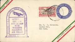 (Mexico) Agua Prieta-Douglas Airport Dedication with Womwn's National Air Derby, 10c red/green airmail PSE with additinal 25c addressed to Oyster Bay, NY, bs 23/8,  canc Agua Prieta/20 Ago 1929/Sonora, fine strike violet 'Women's National Derby/Dedication' cachet.