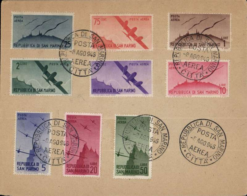 (San Marino) Unaddressed cover franked FDI Aeroplane air set of 9 values, canc special 'Republica Di San Marino/Posta/8 Ago 946/Aerea/Citta'  cds. Image.