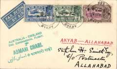 """(Burma) Return 2nd Experimental England-Australia flight, Akyab to Allahabad, bs 26/5, franked 6a, very fine strike  green """"Australia-England/ 2nd Experimental Flight/Asmani Chari"""" cachet (see Brown J, p42), airmail etiquette cover addressed to Stephen Smith, ms """"Akyab to Alahabad"""", Imperial Airways. Signed facsimile Stephen Smith, only few pieces flown, see Davis """"Monthly Air Mail"""", Jun 1931, pp1-3. Very fine, see image."""