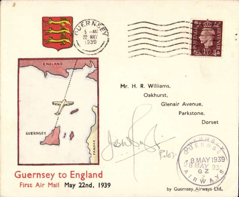 (Channel Is) Guernsey Airways first flight Guernsey - Southampton special Martin souvenir cover signed by the pilot J.W. Pugh, scarce..