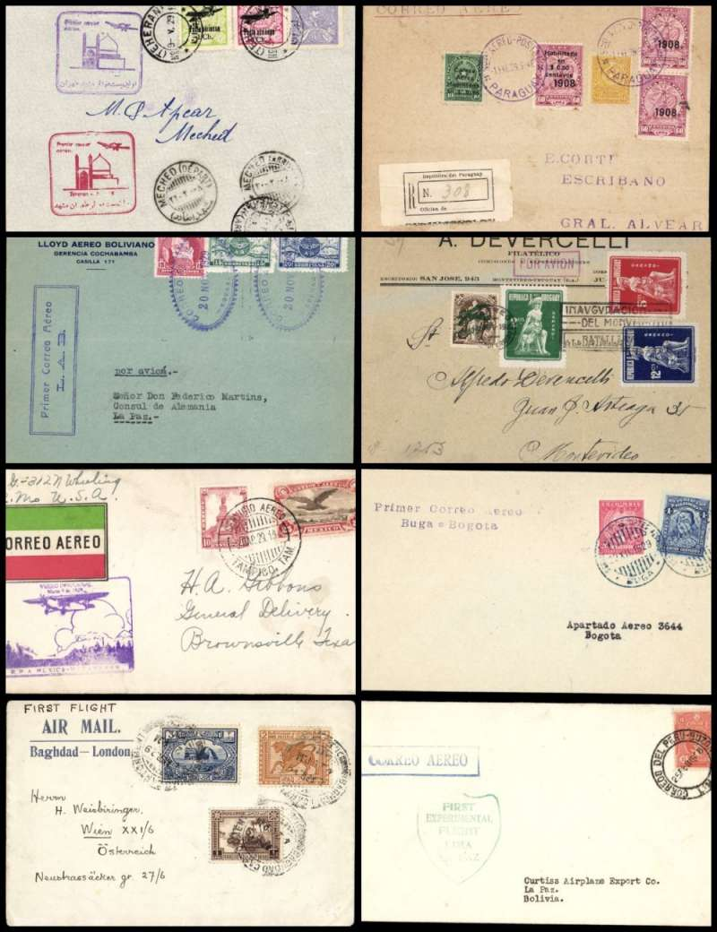 (Collections) Worldwide, eight  early pioneer first flights 1923-1929, including  1923 Uruguay Sarandi to Montevideo; 1928 Doolittle Lima to La Paz; 1929 Cochabamba to La Paz; 1929 registered Asuncion, Paraguay to Buenos Aires; 1929 special envelope Baghdad to Vienna via Alexandria; 1929 Tehran to Meched, 1929 Tampico, Mexico to Brownsville, 1929 Colombia Buga to Bogota, all with good departure and arrival/transit marks, fine to extremely fine. Would make a fine start/addition to a pre 1930 collection.(photo on web site).