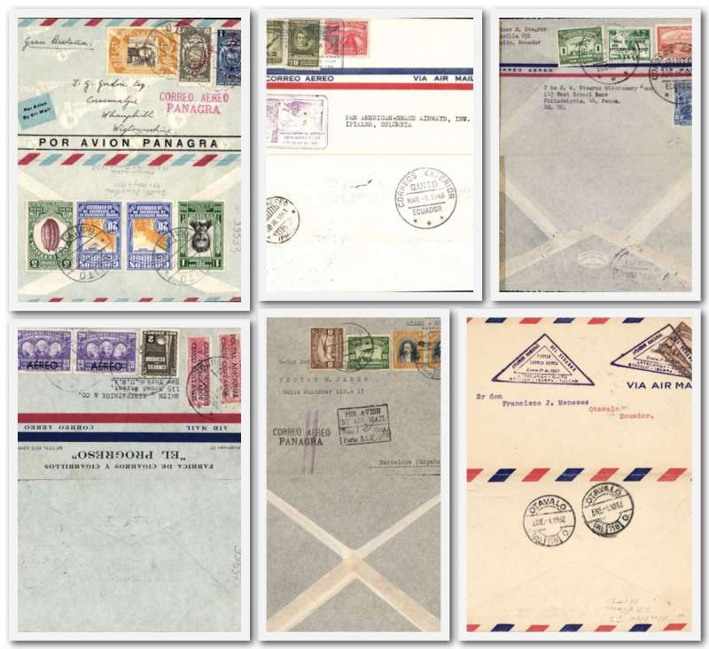 """(Collections) Ecuador, six interesting early airmail flights including  1932 Military F/F Latacunga-Otavalo Mu81 750u; 1932 Guayaquil to Spain fine 'CorreoAereo/Panagra' hs canc violet two bar jusqu'a at New York;1933 Panagra cover Quito-Scotland fine red """"Correo Aereo/Panagra"""" hs; 1940 Quito-New York  rated $2.50 inc 2c Rural Workers Ins Fund and 5c PO Rebuilding Fund; 1943 F/F Quito-Ipiales, Colombia and 1944 Quito-Philadelphia Miami censor seal. Some great multicolour frankings, fine. Image."""