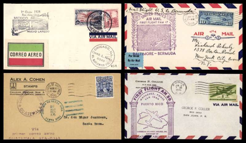 (Collections) Caribbean, eight first flight covers 1928-45, comprising 1926 29/8  Guatemala to Santa Rosa 29/8; 1928 1/10 Mexico City to Nuevo Laredo 29/1 cachet; 1928 24/2 Santiago de Cuba to Port au Prince 24/1 pilot signed; 1929 2/9 San Juan to Paramibo 23/9 cachet; 1929 21/6 Cristobal to Curacao 22/6, Panama 3/7; 1929 1/9 Port au Prince to Havana 10/1; 1938 16/3 Baltimore to Bermuda 16/3; 1945 6/6 Puerto Rico Ponce to San Juan 6/6 cachet. A good introduction to Caribbean collecting, fine to very fine. See scans on web site.