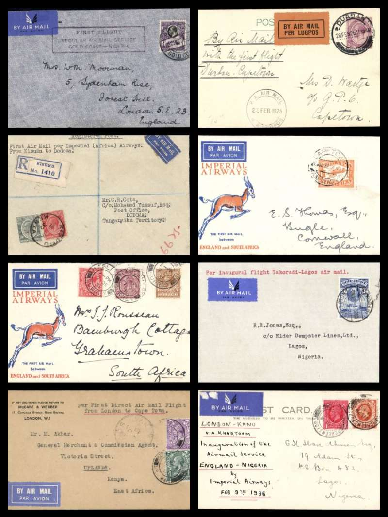 (Collections) British Africa, eight first flight covers 1925-39, comprising 1925 South Africa 28/2 Durban to Cape Town; 1931 7/12 London to Johannesburg 21/12 Springbok cover; 1932 18/1 first Direct flight London to Kisumu 27/1; 1932 21/1 Kisumu to Dodoma 28/1; 1932 26/1 Cape Town to England 17/2 Springbok cover; 1936 8/2 London to Kano leg of first England-Nigeria service; 1939 2/5 scarce Takoradi to Lagos 4/5 Francis Field authentication hs; 1937 30/10 first regular service Accra to London. A great selection, all fine with appropriate flight cachets and cancellations. Image
