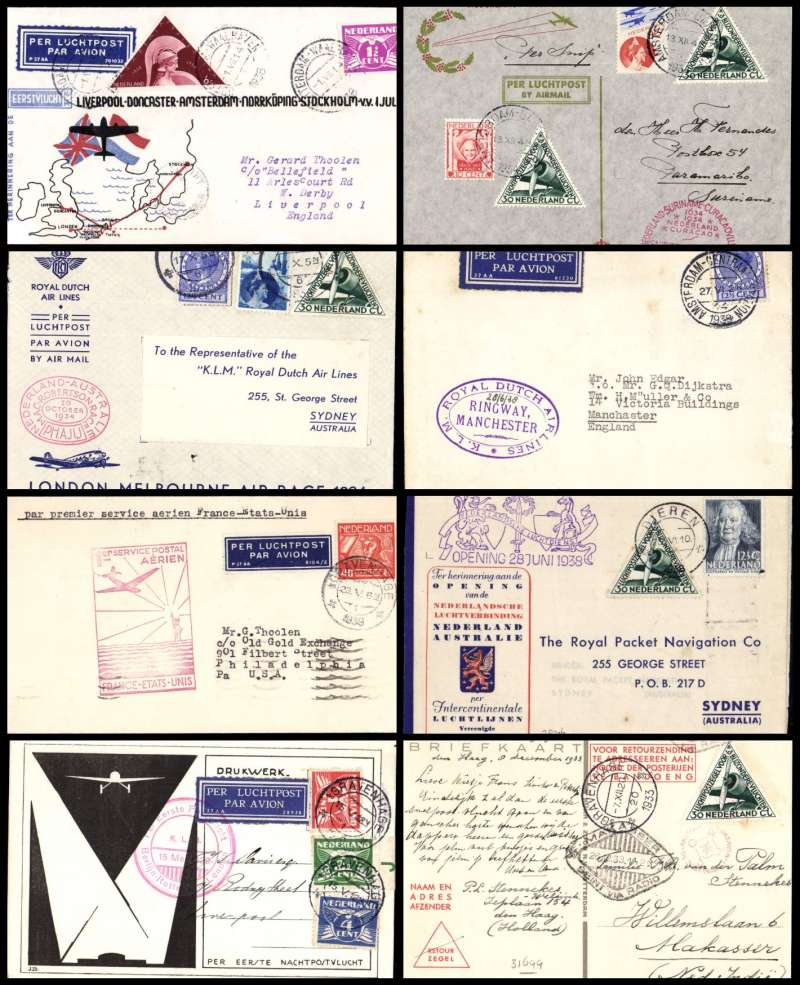 (Collections) Netherlands, eight first flights 1929- 39 comprising 1929 15/5 Aler & Smirnoff KLM first night flight (Berlin)-Rotterdam-London; 1933 9/12 attractive Pander Postjager souvenir card Hague to Makassar 26/12; 1934 20/10 Mac Robertson Air Race Holland to Sydney 26/10 special stamp and cachets KLM entry flown by Parmentier and Moll; 1934 15/12 Snip' Christmas flight Amsterdam to Paramibo 20/12 special stamp on souvenir cover; 1936 1/7 KLM Amsterdam to Doncaster 3/7 red/white/blue souvenir cover; 1938 28/6 Amsterdam to Sydney bs 5/7 and return KLM souvenir cover franked Netherlands & Australia stamps; 1938 27/6 Amsterdam to Manchester Ringway; 1939 23/5 Netherlands acceptance for Pan Am F/F Marseilles to New York bs 27/5. A lot worth examining, fine to very fine (photo on web site).