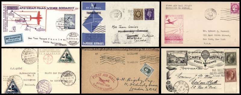 """(Collections) Europe (Western), ten  first flight covers, 1927-41, comprising 1927 8/9 Luxembourg 1st balloon flight; 1929 22/11 Athens to Patras 22/9 frank inc 1926 3d air; 1929 16/7 first German North Atlantic catapult flight, on board  SS Bremen to New York; 1929 26/8 Ireland Galway to London cachet; 1930 31/8 Luxembourg Vaduz to St Gallen 31/8; 1933 9/12 Amsterdam to Bandoeng 22/ """"Pander Postjager"""" souvenir PPC Amsterdam and Pelikan cachets; Austria 1935 20/4 Vienna to Rotterdam 21/4 souvenir cover;1936 17/3 London to Malmo 17/3 souvenir cover; 1939 24/5 Pan Am Marseilles to New York 25/5 cachet;1939 3/8 Imperial AW London to Montreal 6/8 official cover. Varied selection and worth examining, fine to very fine (photo on web site)."""