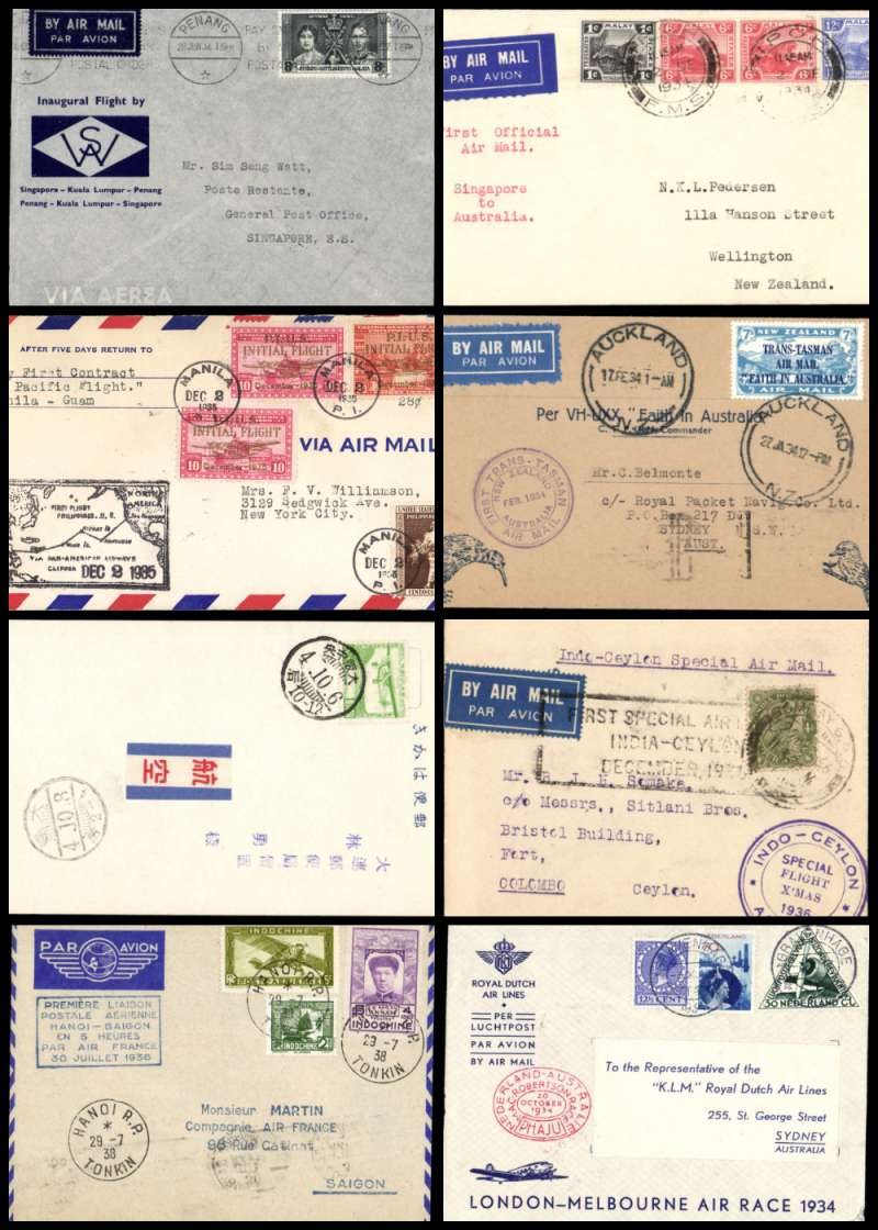 (Collections) Asia 1929-38, eight first flight covers comprising 1929 6/10 Japan Osaka to Seoul arrival ds on front special card; 1934 Singapore to New Zealand bs Sydney 21/12; 1934 20/10 Mac Robertson Air Race Holland to Sydney 26/10 special stamp and cachets KLM entry flown by Parmentier and Moll small lower corner fault, see scan; 1934 17/2 Faith in Australia Auckland to Sydney 17/2 souvenir cover; 1935 2/12 Manila to Guam 2/12; 1936 22/12 Bombay to Ceylon special flight; 1937 28/6 Penang to Singapore 28/6 souvenir cover; 1938 29/7 Indochina Hanoi to Saigon 30/7. Very fine to extremely fine, an interesting selection of seldom seen material (photo on web site).