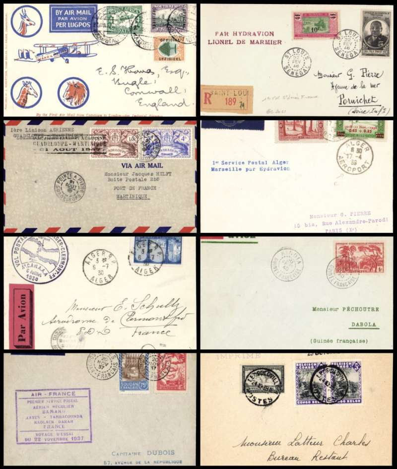 (Collections) Africa, a selection of eight first flight covers, 1930-47, comprising 1930 6/7 Alger to Clermont Ferand 6/7; 1932 22/1 Cape Town to Cornwall GB 17/2; 1937 20/11 Soudan Francais Kayes to Dakar 23/11; 1939 25/10 Belgian Congo Leopoldville to Kikwit 25/10; 1939 17/4 Alger to Paris 16/4; 1940 20/2 Guinea Francaise to Dabola 20/2 Mu #12d 74 flown; 1946 St Louis Senegal to Paris 9/3 Par Hydravion/Lionel de Marmier'; 1947 21/8 Pointe a Pitre Guadeloupe to Fort de France Martinique 22/8. An interesting fine to very fine lot, all with arrival date stamps and official cachets. Image.