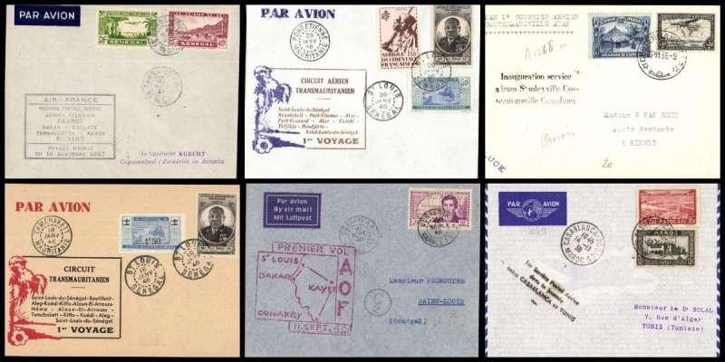 (Collections) Africa, 1930-46, 10 first flight covers comprising 1930 23/1 Tunisia to Paris Exceptionel; 1935 1/4  Algeria to Paris 3/4;1936 29/10 Lagos to Kano 9/10; 1937 20/5 Cameroun, Douala to France 29/5; 1937 15/11 test flight Guinea, Tambacounda to French Soudan 15/11; 1938 14/11 Casablanca to Tunis 15/11; 1939 7/11 Belgian Congo, Costermansville to Stanleyville 30/11; 1940 10/9 Guinea, Conakry to Saint Louis 11/9;  1946 16/1 Circuit Transmauritanien St Louis  Senegal to Tamchaket 18/1; 1946 26/1 Senegal, St Louis to Port Etienne 26/1. Fine to very fine, all with appropriate flight cachets. Image.