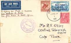 """(New Zealand) New Zealand to South Africa, Auckland to Cape Town, 24/3 via Sydney 18/2, carried on the First Official Trans-Tasman airmail flight in """"Faith in Australia"""", violet circular cachet, plain cover franked 1/8d. Two edge tone spots. See image."""