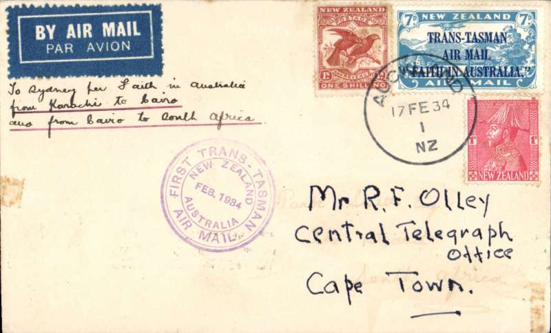 "(New Zealand) New Zealand to South Africa, Auckland to Cape Town, 24/3 via Sydney 18/2, carried on the First Official Trans-Tasman airmail flight in ""Faith in Australia"", violet circular cachet, plain cover franked 1/8d. Two edge tone spots. See image."
