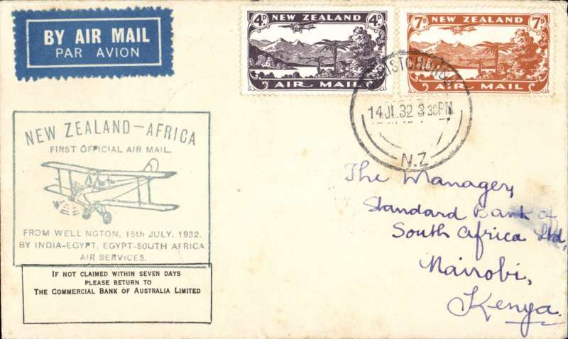 (New Zealand) First NZ acceptance from Christchurch for Nairobi bs 17/8 via Cairo 13/8, via the Wellington dispatch for the Imperial Airways African service, blue New Zealand-Africa cachet applied at Wellington, franked 11d. Covers from the Wellington dispatch are much scarcer, see Walker, p129.
