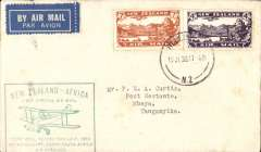 (New Zealand) First NZ acceptance from Wellington for Mbeya 18/8 via Cairo 13/8, via the Wellington dispatch for the Imperial Airways African service, green New Zealand-Africa cachet applied at Wellington, franked 11d. Covers from the Wellington dispatch are much scarcer, see Walker, p129.