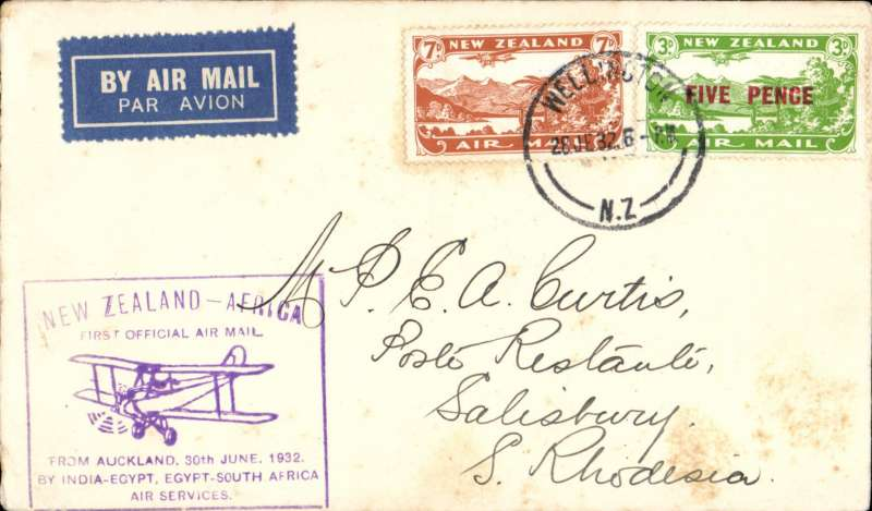 "(New Zealand) Auckland to Salisbury, S. Rhodesia bs 6/8, first New Zealand acceptance for the Cairo-Cape route, airmail etiquette cover franked 10d, violet boxed ""New Zealand- Africa/First Official Air Mail/from Auckland 30th June 1932/by India-Egypt, Egypt-South Africa/Air Services"" cachet, Imperial Airways, scare. Few light tone spots, see image.."