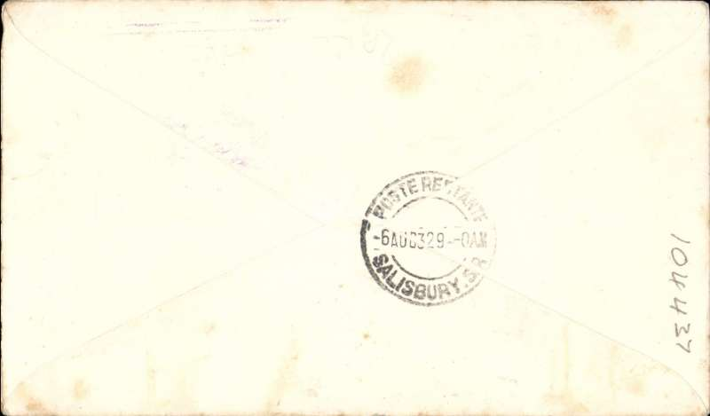 """(New Zealand) Auckland to Salisbury, S. Rhodesia bs 6/8, first New Zealand acceptance for the Cairo-Cape route, airmail etiquette cover franked 10d, violet boxed """"New Zealand- Africa/First Official Air Mail/from Auckland 30th June 1932/by India-Egypt, Egypt-South Africa/Air Services"""" cachet, Imperial Airways, scare. Few light tone spots, see image.."""