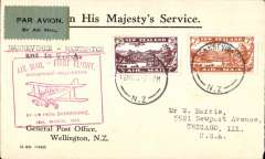 "(New Zealand) First New Zealand acceptance for Chicago, US, bs 14/12, for carriage on the F/F Danneverke to Masterton, bs16/3, airmail etiquette cover franked 10d, red boxed "" F/F Danneverke-Wellington.........' flight cachet, air in NZ and USA. Image."
