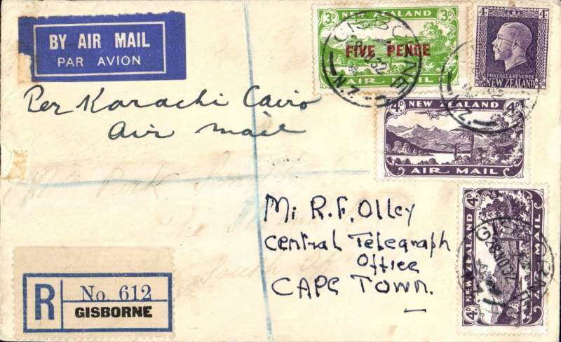 (New Zealand) Gisborne to Cape Town, bs 9/1/33, registered airmail cover franked 1/5d canc Gisborne cds, ms 'Per Karachi-Cairo/Air Mail'. What took so long? Image.