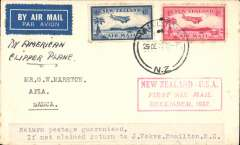 (New Zealand) Capt. Musik, Pan Am 'Samoa Clipper', Trans-Pacific Survey Flight #2, New Zealand to Pago Pago, bs 1/1/38, plain cover, franked 7d, canc Auckland 29/12 cds, red framed fight cachet.