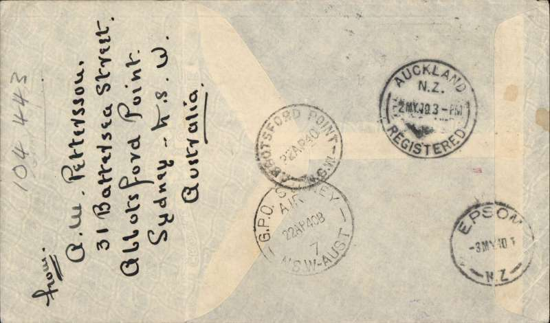 """(Australia) Wartime airmail, first regular Sydney-Auckland airmail, bs Wellington 3/5, carried in flying boat """"Aotearoa"""", blue/grey TEAL souvenir company cover, rated 8d for air to NZ. When Italy entered the war in June 1949 this service became the first leg of the 'all air' Pacific Clipper Service to GB via Hong Kong, San Francisco, New York and Lisbon. A nice historical item."""