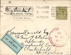 "(Kenya) First East African Experimental Air Mail Service, Capt. TA Gladstone, mail from Nairobi 14/2, addressed to London, carried on the return flight from Kisumu bs 15/2 to Khartoum, then by RAF from Khartoum to Cairo, then by Imperial AW from Cairo to London, franked  Kenya and Uganda 75c canc Nairobi cds, red circular ""Kenya-Sudan/ 1st/Air Mail/Fe 15/27"" cachet (see illustration p86 Newall). Plain cover with black/pale green etiquette rated 'a great rarity' by Mair."