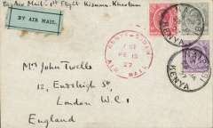 "(Kenya) First East African Experimental Air Mail Service, Capt. TA Gladstone, mail from Nairobi 14/2, addressed to London, carried on the return flight from Kisumu bs 15/2 to Khartoum, then by RAF from Khartoum to Cairo, then by Imperial AW from Cairo to London, franked  Kenya and Uganda 75c canc Nairobi cds, red circular ""Kenya-Sudan/ 1st/Air Mail/Fe 15/27"" cachet (see illustration p86 Newall). Plain cover with black/pale green etiquette rated 'a great rarity' by Mair. Closed flap tear, see image."