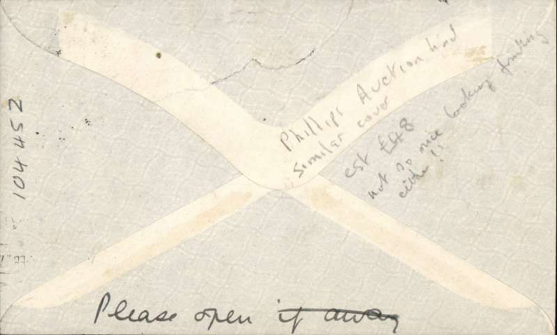 """(Kenya) First East African Experimental Air Mail Service, Capt. TA Gladstone, mail from Nairobi 14/2, addressed to London, carried on the return flight from Kisumu bs 15/2 to Khartoum, then by RAF from Khartoum to Cairo, then by Imperial AW from Cairo to London, franked  Kenya and Uganda 75c canc Nairobi cds, red circular """"Kenya-Sudan/ 1st/Air Mail/Fe 15/27"""" cachet (see illustration p86 Newall). Plain cover with black/pale green etiquette rated 'a great rarity' by Mair. Closed flap tear, see image."""